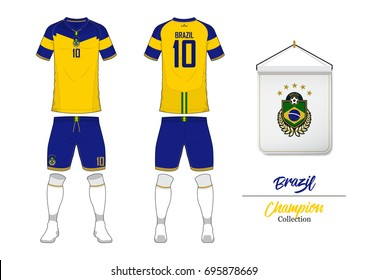 12c087719 Soccer jersey or football kit collection in World Cup Championship Concept. Brazil  football national team