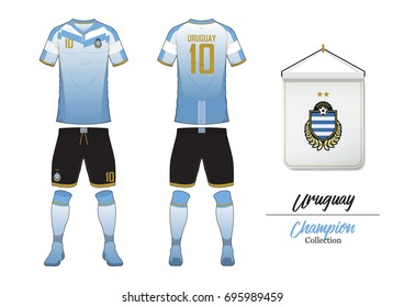 01bf658a5 Soccer jersey or football kit collection in World Cup Championship Concept.  Uruguay football national team