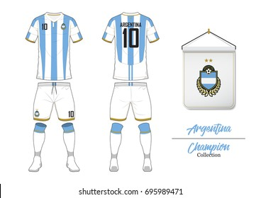 Soccer jersey or football kit collection in World Cup Championship Concept. Argentina football national team. Football logo with house flag. Front and rear view soccer uniform. Vector Illustration.