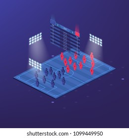 soccer jersey or football kit with match formation tactic infographic. Football player position on football pitch and stadium map. Vector Illustration. Isometric set