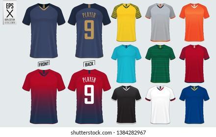 Soccer jersey or football kit mockup template design for sport club. Set of football t-shirt sport mock up. Front and back view soccer uniform. Vector Illustration.