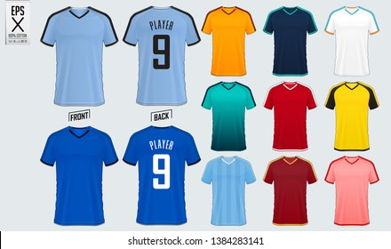Soccer jersey or football kit mockup template design for sport club. Set of football t-shirt sport mock up. Front and back view soccer uniform. Vector Illustration.