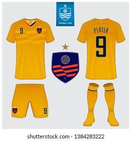 Soccer jersey or football kit mockup template design. Football t-shirt sport, shorts and socks  mock up. Front and back view soccer uniform. Flat football logo design. Vector Illustration.