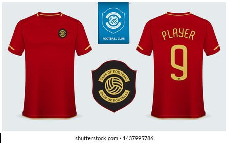 Soccer jersey or football kit mockup template design for sport club. Football t-shirt sport mock up. Red soccer uniform in front view and back view . Flat football logo design. Vector Illustration.