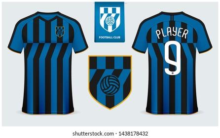 Soccer jersey or football kit mockup template design for sport club. Football t-shirt sport mock up. Black, Blue stripe soccer uniform in front view, back view. Football logo design. Vector Illustion.