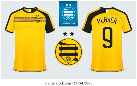 Soccer jersey, football kit mockup template design for sport shirt. Football t-shirt mock up. Yellow and black soccer uniform in front view, back view. Flat football logo design. Vector Illustration