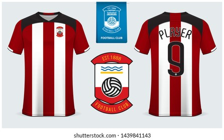 Soccer jersey, football kit mockup template design for sport shirt. Football t-shirt sport mock up. Red and white stripe soccer uniform in front view and back view . Flat football logo design. Vector.