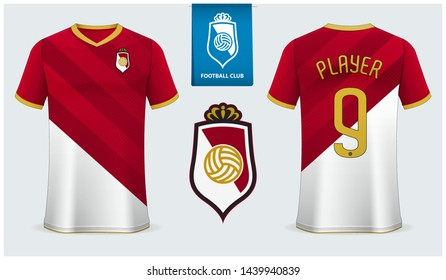 Soccer jersey or football kit mockup template design for sport shirt. Football t-shirt mock up. red and white diagonal soccer uniform in front view back view. Football logo design. Vector Illustration