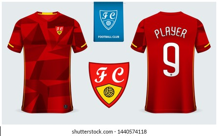 Soccer jersey or football kit mockup template design for sport shirt. Football t-shirt mock up. Red soccer uniform in front view and back view. Flat football logo design. Vector Illustration
