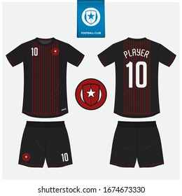 Soccer jersey or football kit mockup template design for sport club. Football t-shirt sport, shorts mock up. Soccer uniform in front view, back view . Football logo in flat design. Vector Illustration