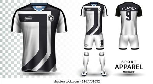 Soccer Jersey and Football Kit Presentation Mockup Template, Front and Back View Including Sportswear Uniform, Shorts and Socks and it is Fully Customization Isolated on Transparent Background.