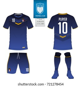 Soccer jersey or football kit, short, sock template for sport club. Football t-shirt mock up. Front and back view soccer uniform. Flat football logo on blue label. Vector Illustration.