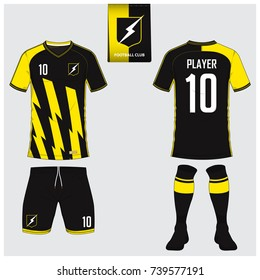 Soccer jersey or football kit, short, sock template for sport club. Yellow thunder football t-shirt mock up. Front and back view soccer uniform. Flat football logo on blue label. Vector Illustration.