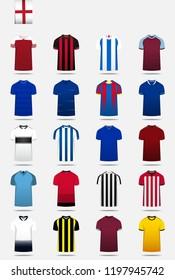 Soccer jersey or football kit, shorts, sock template design for sport club. Football t-shirt mock up. Front and back view soccer uniform. Flat football logo design on blue label. Vector Illustration.
