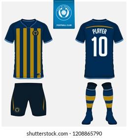 Soccer jersey or football kit, shorts, sock, template design for sport club. Football t-shirt mock up. Front and back view soccer uniform. Flat football logo design on blue label. Vector Illustration.