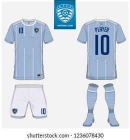 Soccer jersey or football kit, shorts, sock, template design for soccer club. Sport t-shirt mock up. Front and back view soccer uniform. Flat football logo design on blue label. Vector Illustration.