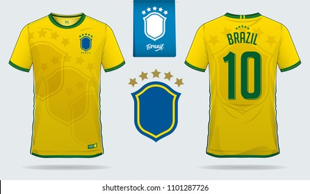 Soccer jersey or football kit template design for Brazil national football team. Front and back view soccer uniform. Football t shirt mock up. Vector Illustration