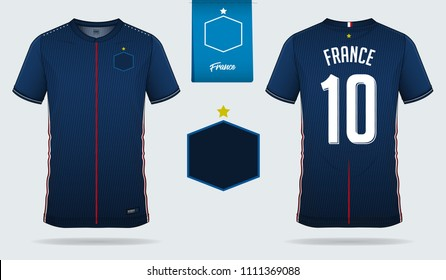 Soccer jersey or football kit template design for France national football team. Front and back view soccer uniform. Football t shirt mock up with flat logo design. Vector Illustration