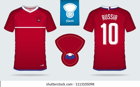 Soccer jersey or football kit template design for Russia national football team. Front and back view soccer uniform. Football t shirt mock up with flat logo design. Vector Illustration