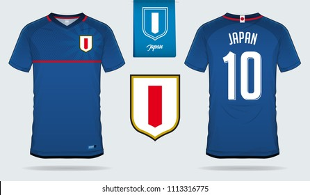 Soccer jersey or football kit template design for Japan national football team. Front and back view soccer uniform. Football t shirt mock up with flat logo design. Vector Illustration