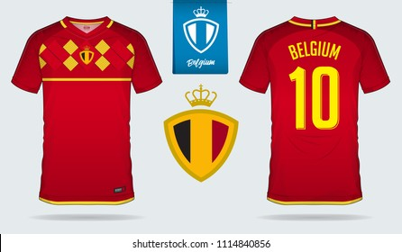 Soccer jersey or football kit template design for Belgium national football team. Front and back view soccer uniform. Football t shirt mock up with flat logo design. Vector Illustration