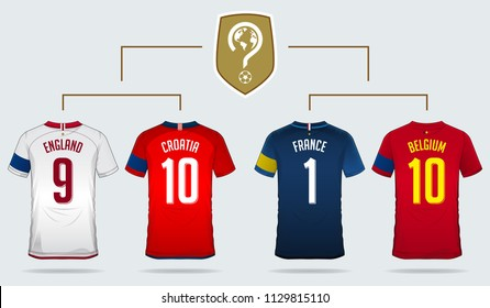Soccer jersey or football kit template design for England, Croatia, France, Belgium in back view. Soccer uniform with captain armband.