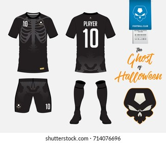 Soccer jersey or football kit template in Halloween concept. Football t shirt mock up. Front and back view soccer uniform. Football logo on label in flat design. Vector Illustration.
