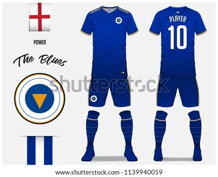 47b1ee7a8 Blue football shirt with sock and blue pants mock up. Front and back view  soccer uniform. Football logo and Flag label. Vector.