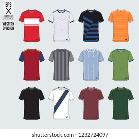 Soccer jersey or football kit t-shirt sport, shorts, sock template design for sport club. Football t-shirt mock up. Front and back view soccer uniform. Flat football logo on blue label. Vector.