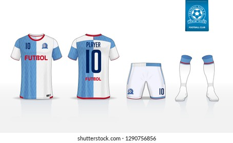 Soccer jersey or football kit t-shirt sport, shorts, sock template design for sport club. Football t-shirt mock up. Front and back view soccer uniform. Flat football logo on blue label. Vector