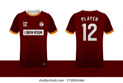 Soccer jersey, Football jersey, Sport team jersey front and back template.