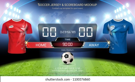 Soccer jersey mock-up team A vs team B, Digital timing scoreboard match vs strategy broadcast graphic template for presentation score or game results (EPS10 vector can change all design parts)