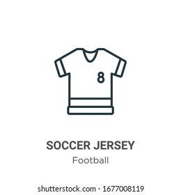 Soccer jersey outline vector icon. Thin line black soccer jersey icon, flat vector simple element illustration from editable football concept isolated stroke on white background