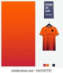 Soccer jersey pattern design. Geometric pattern on orange background for soccer jersey, football kit, bicycle, e-sport, basketball, t-shirt mockup template. Fabric pattern. Sport background. Vector.