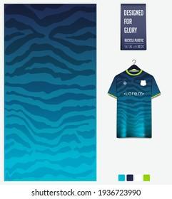 Soccer jersey pattern design. Tiger stripe pattern on blue background for soccer kit, football kit, bicycle, e-sport, basketball, t-shirt mockup template. Fabric pattern. Sport background. Vector