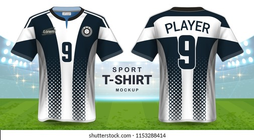 Soccer Jersey and Sportswear T-Shirt Mockup Template, Realistic Graphic Design Front and Back View for Football Kit Uniforms, Easy Possibility to Apply Your Artwork, Text, Image, Logo (Eps10 Vector)