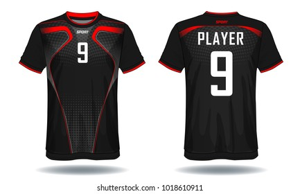 Soccer jersey template. Mock up Football uniform for football club. Team apparel.Red and black layout football sport t-shirt design. Vector Illustration design