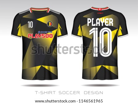 6e4800f4f67 Soccer jersey template. black and yellow layout football sport t-shirt  design. Soccer