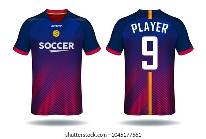Soccer jersey template.Red and Blue layout sport t-shirt design.
