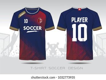 Soccer jersey template. Mock up Football uniform for football club. Team apparel. Blue and Red layout football sport t-shirt design. Vector Illustration design.