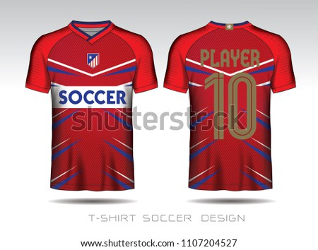 Soccer Jersey Template Mock Up Football Uniform For Club Team ApparelRed