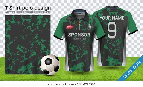 Soccer jersey template, Sport polo t-shirt style, Design football kit uniform or activewear and gym clothes, For your custom made team or any occasion, Everything is edible, resizable and color change