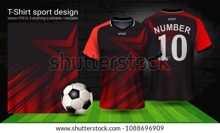 Soccer Jersey Template Sport T Shirt Style Design Football Kit Uniform Or Activewear