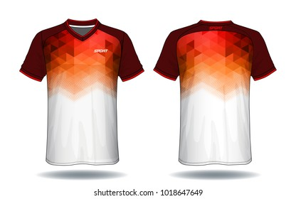 Soccer jersey template.Red and white layout football sport t-shirt design. Template front, back view. Soccer kit national team shirt mock up.