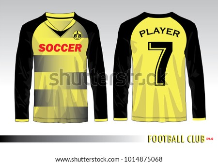 83ae8dc55 Soccer jersey template. Yellow and black layout football sport t-shirt  design. Template