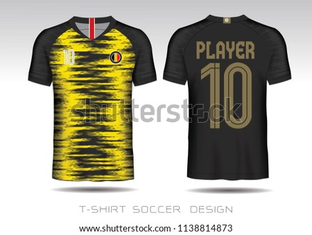 8c7c8f14627 Soccer jersey template.Black and yellow layout football sport t-shirt design.  Template