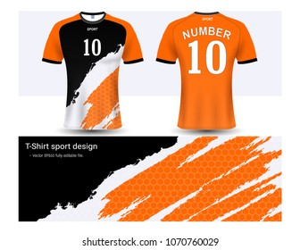 Soccer jersey and t-shirt sport mockup template, Graphic design for football club or activewear uniforms, Ready for customize logo and name, Easily to change colors and lettering styles in your team.