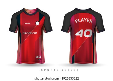 Soccer jersey and t-shirt sport mockup template, Graphic design for football kit or activewear uniforms, customize logo and name, Easily to change colors and lettering styles in your team.