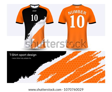 1276698eb Soccer jersey and t-shirt sport mockup template, Graphic design for football  club or activewear uniforms, Ready for customize logo and name, ...