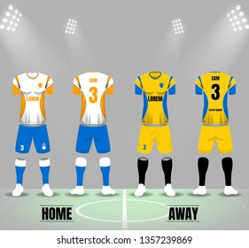 Soccer Jersey white and yellow template on stadium background